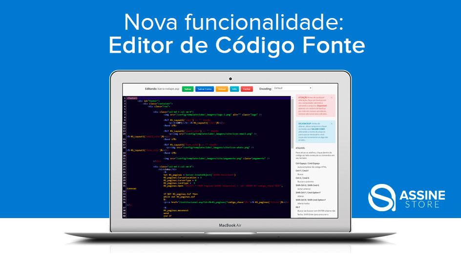 Nova funcionalidade: Editor de Código Fonte